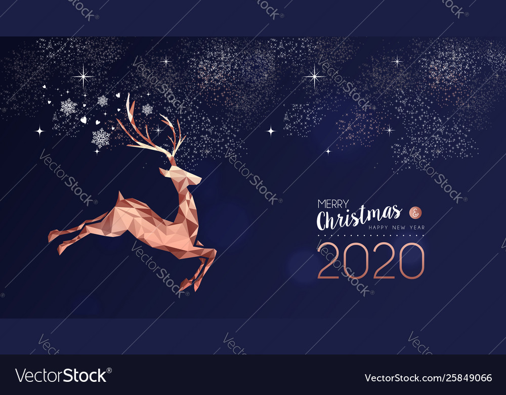 Christmas and new year 2020 card copper deer