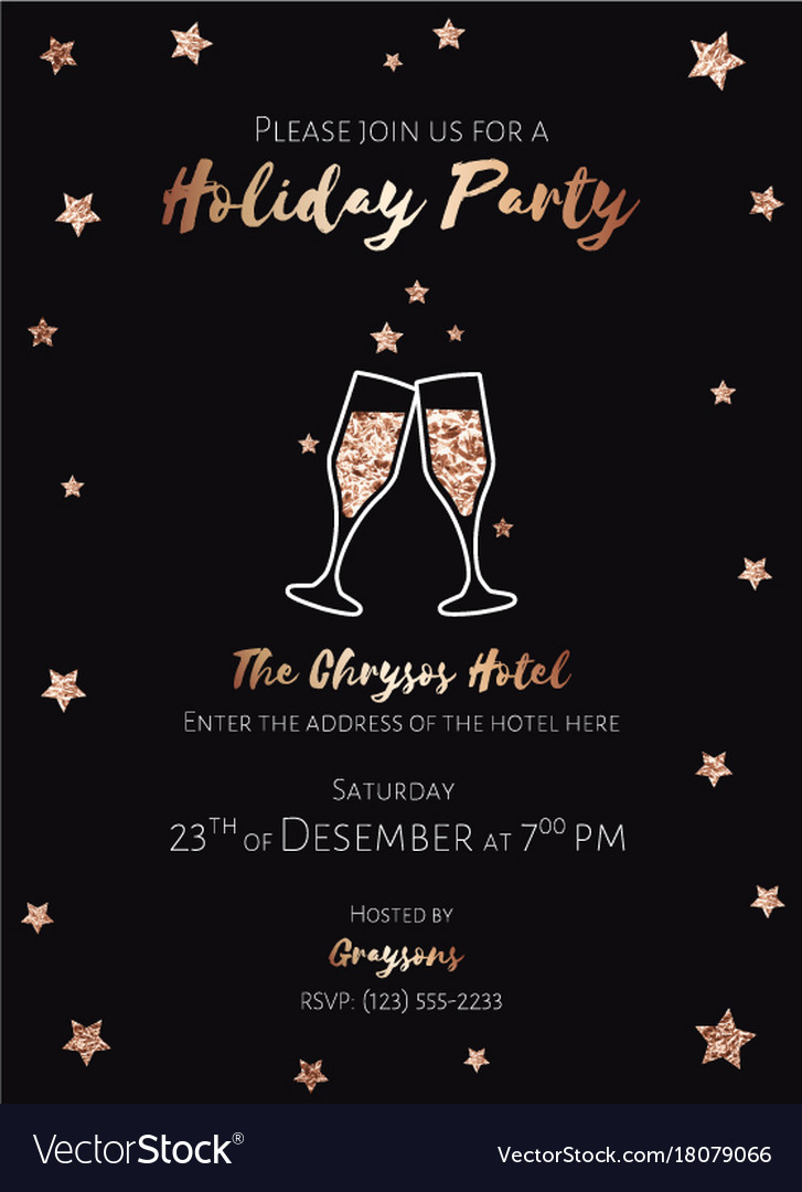 Christmas Party Invitation.Christmas Party Invitation Black And Gold Foil