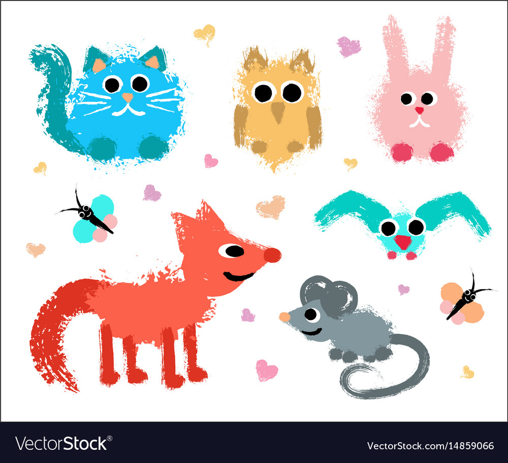Cute animals set painted grunge texture