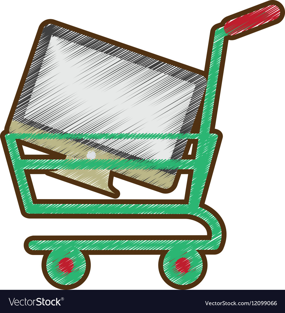 Drawing shopping cart online computer digital Vector Image