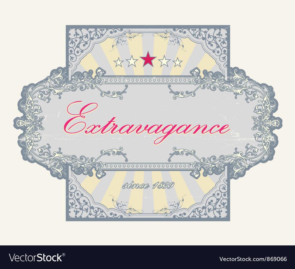 Grunge floral label vector image