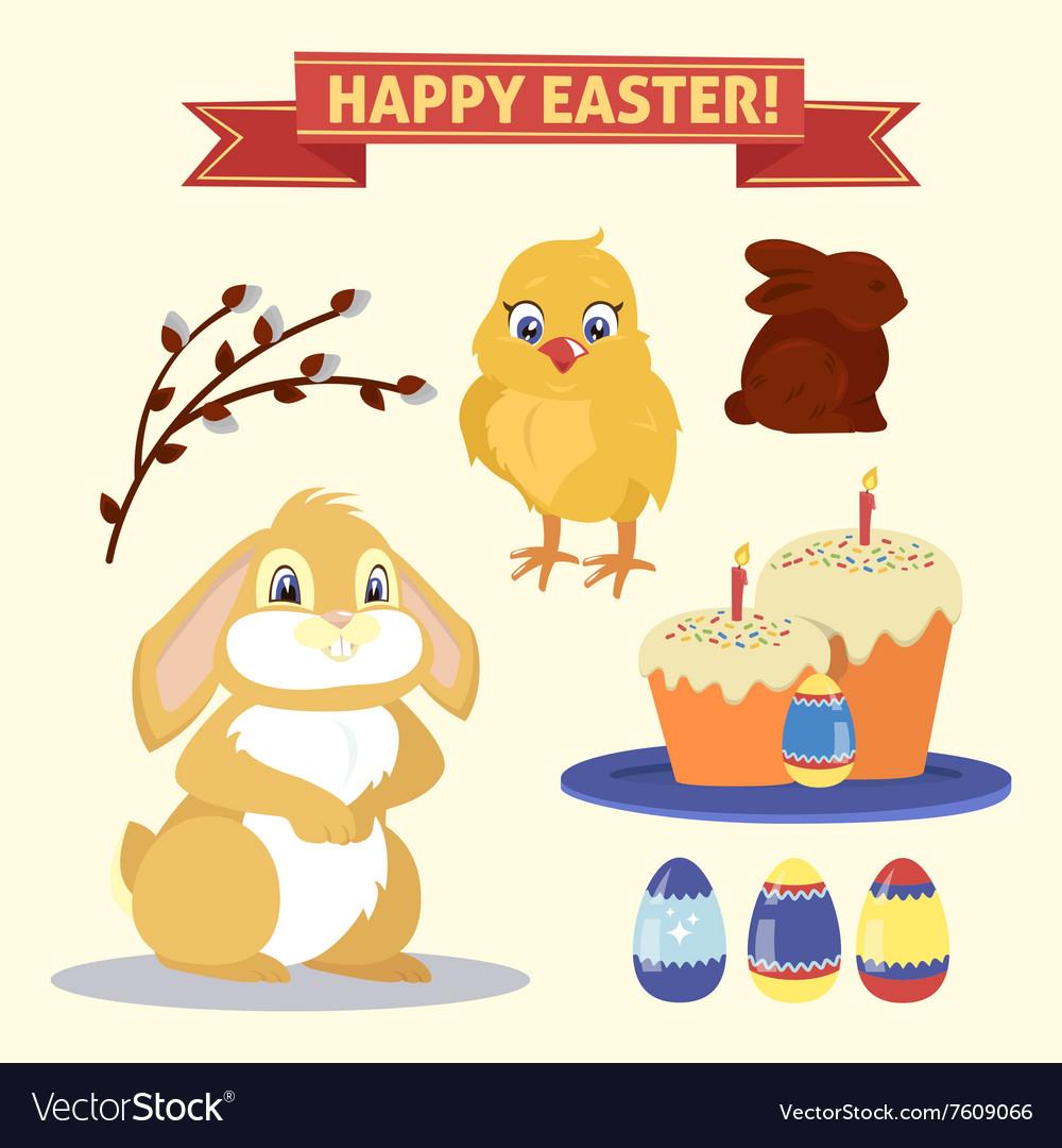 Happy Easter Set of Elements - Rabbit Eggs Chicken