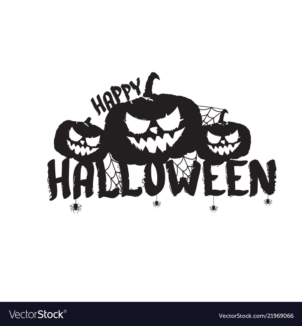 Happy halloween text banner or label