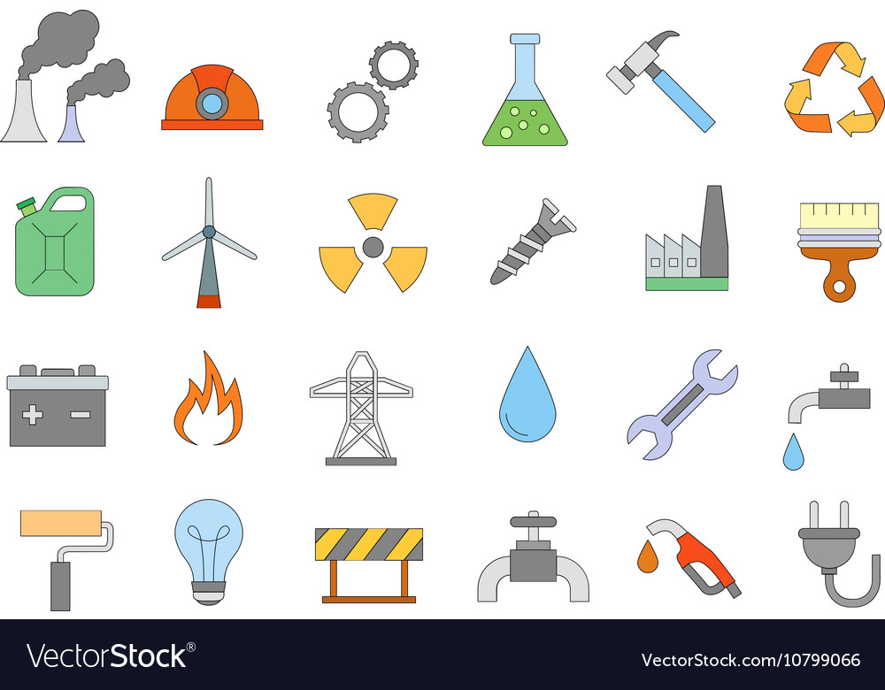 Industry work colorful icons set