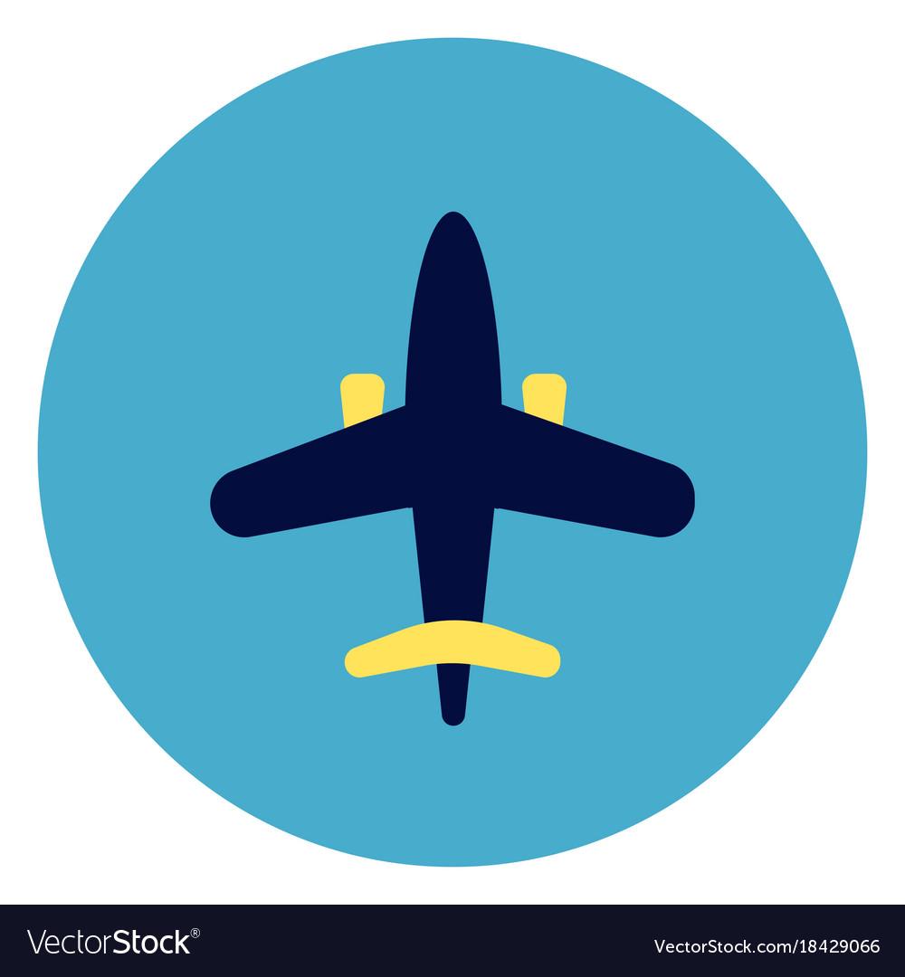 Plane icon on round blue background