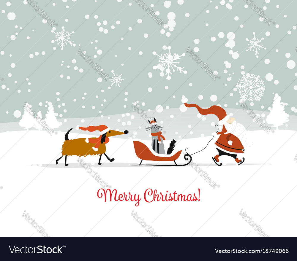 Santa Claus With Cat And Dog Christmas Card Vector Image