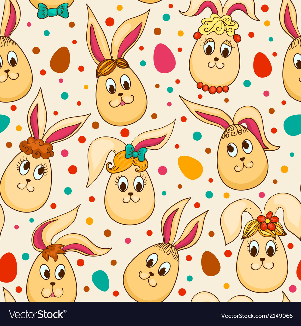 Seamless pattern with cute Easter rabbits