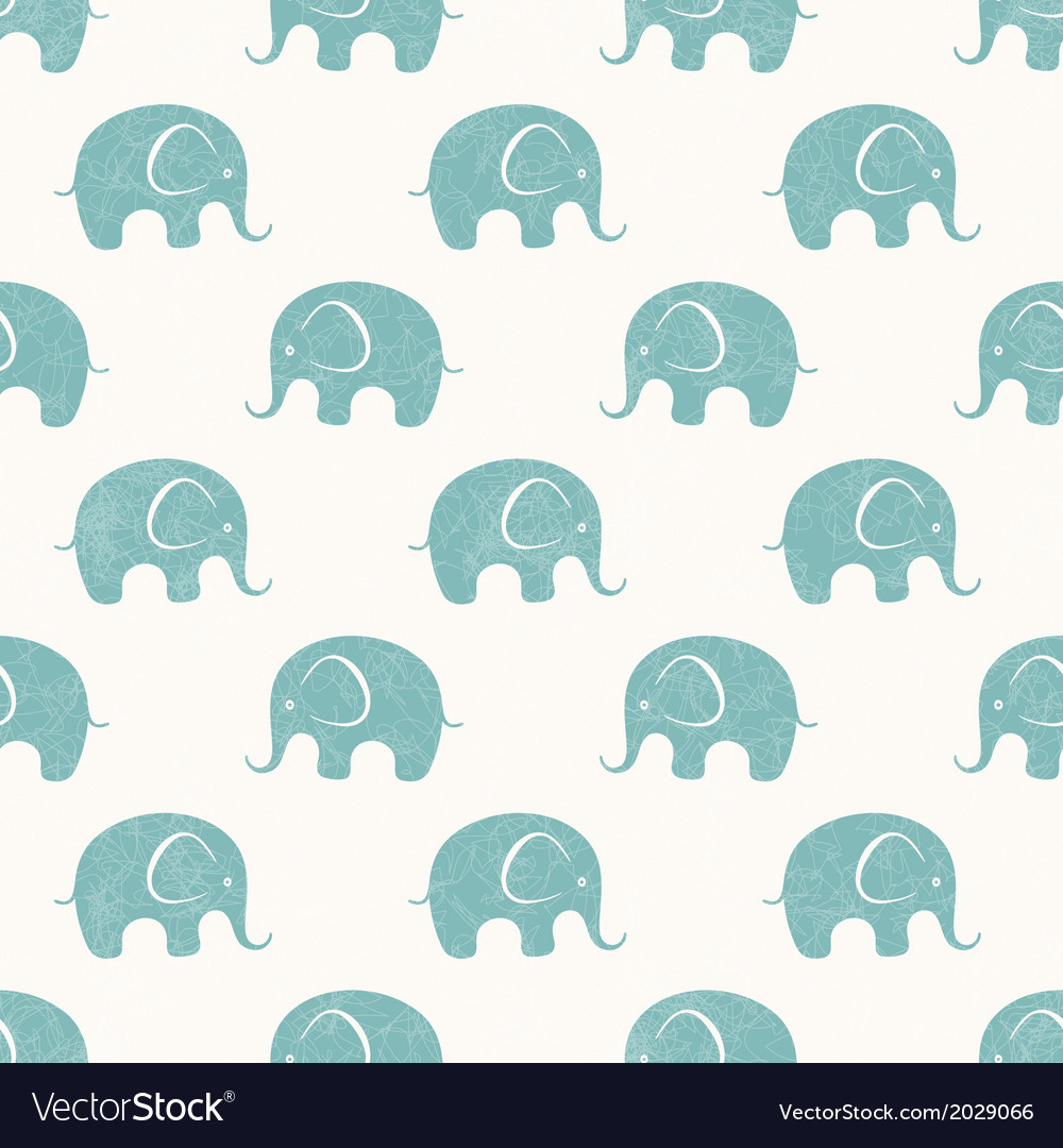 Seamless print with cute little elephants
