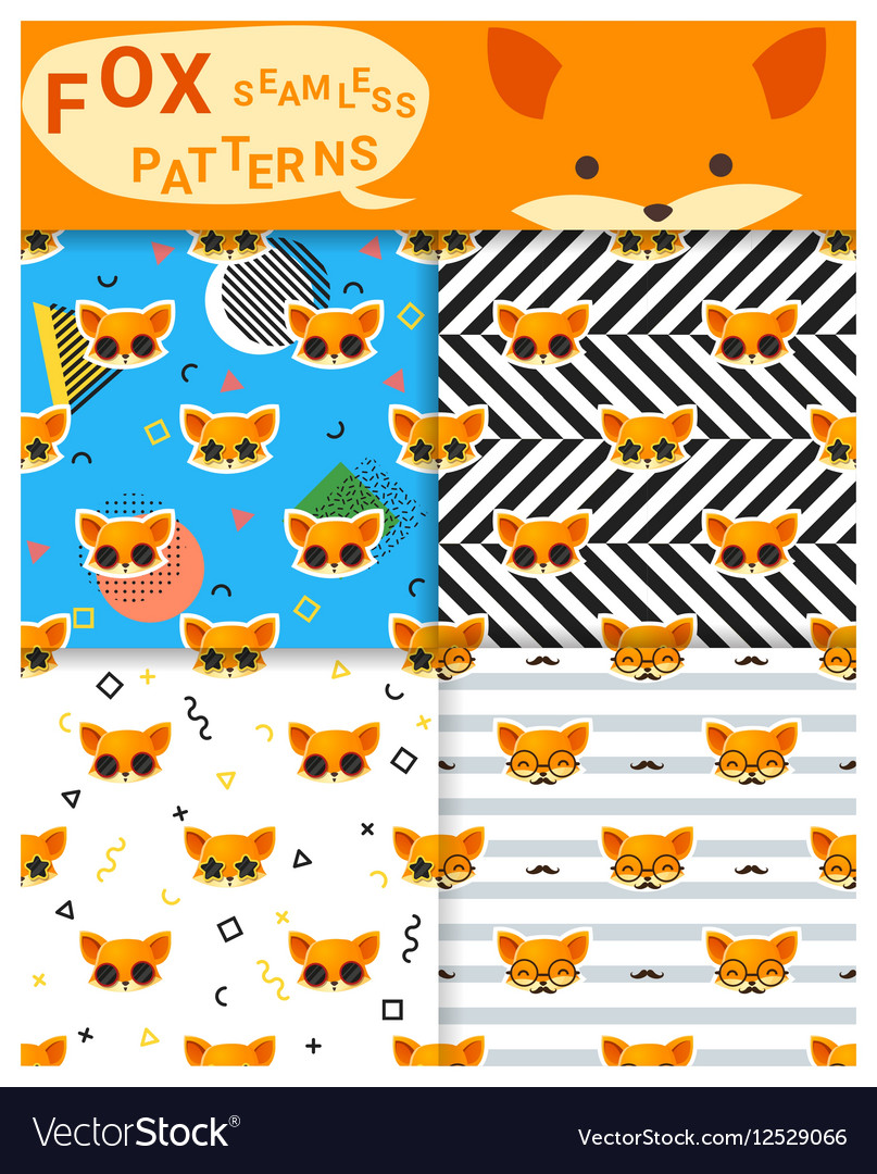 Set of animal seamless patterns with fox 2