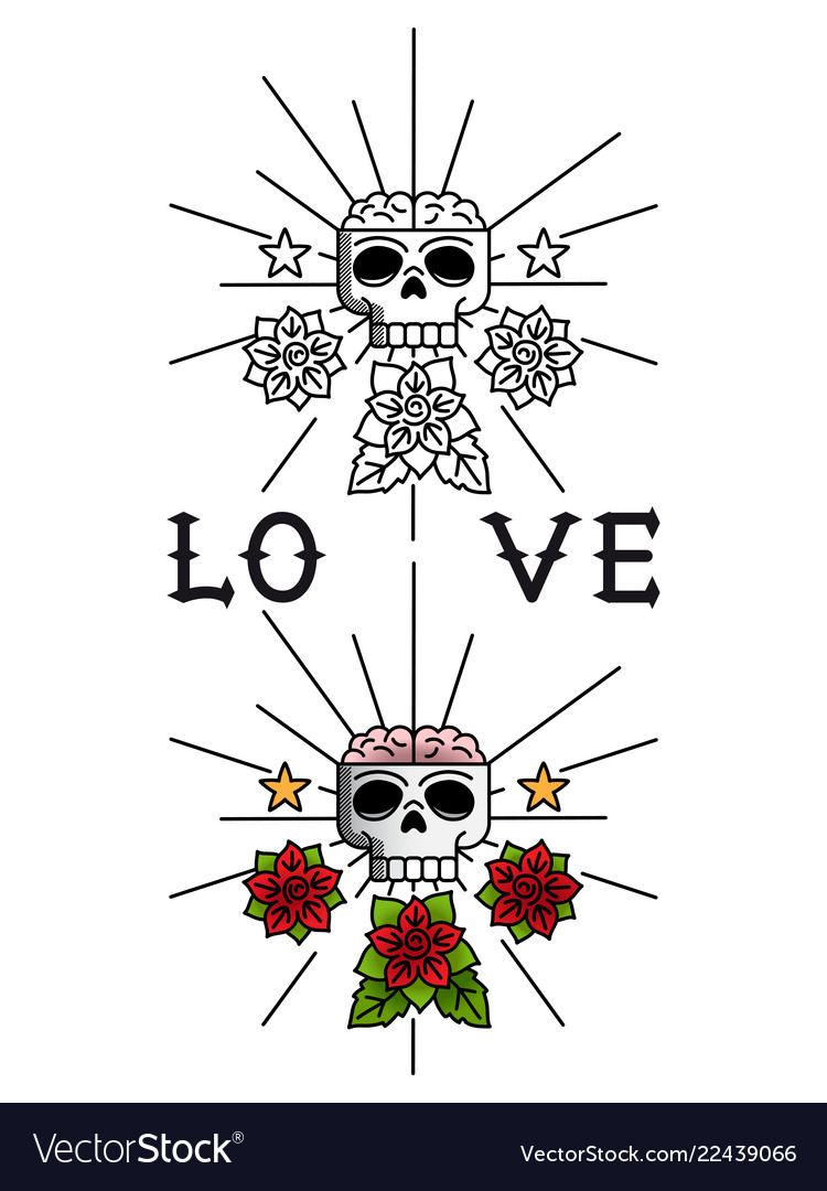 Skull and flowers tattoo template