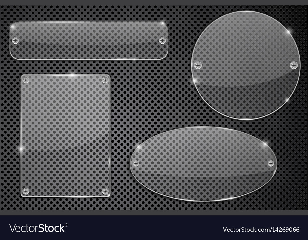 Transparent glass plate on metal background