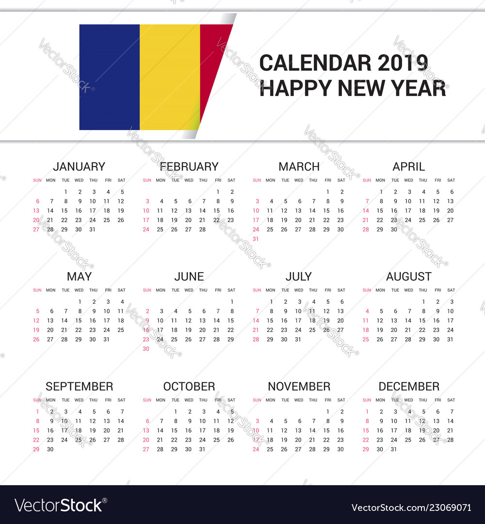 Calendar 2019 Romania Flag Background English Vector Image