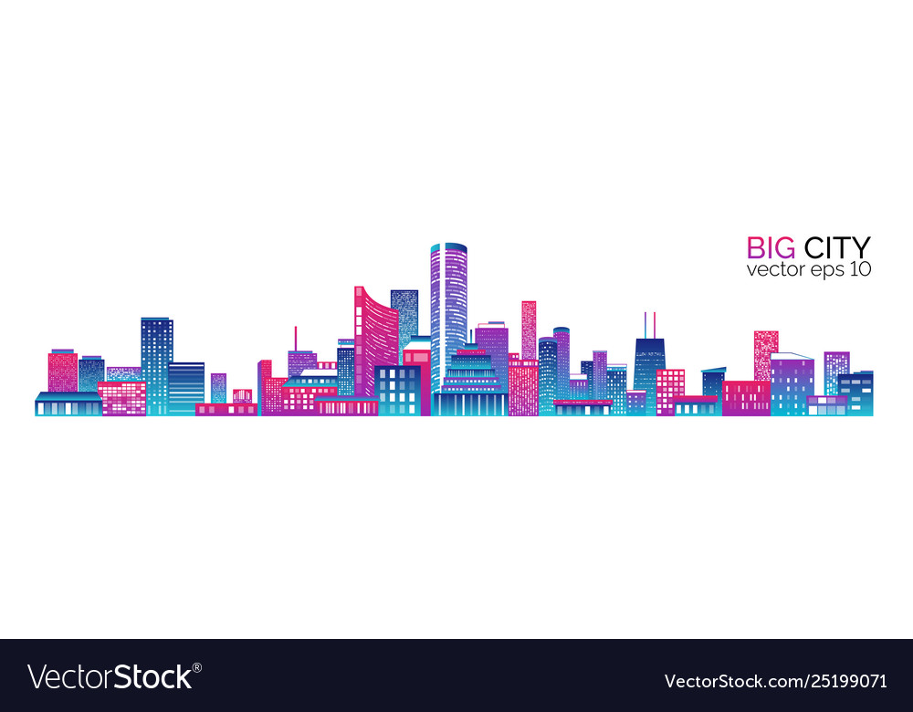 City scape with colorful various buildings
