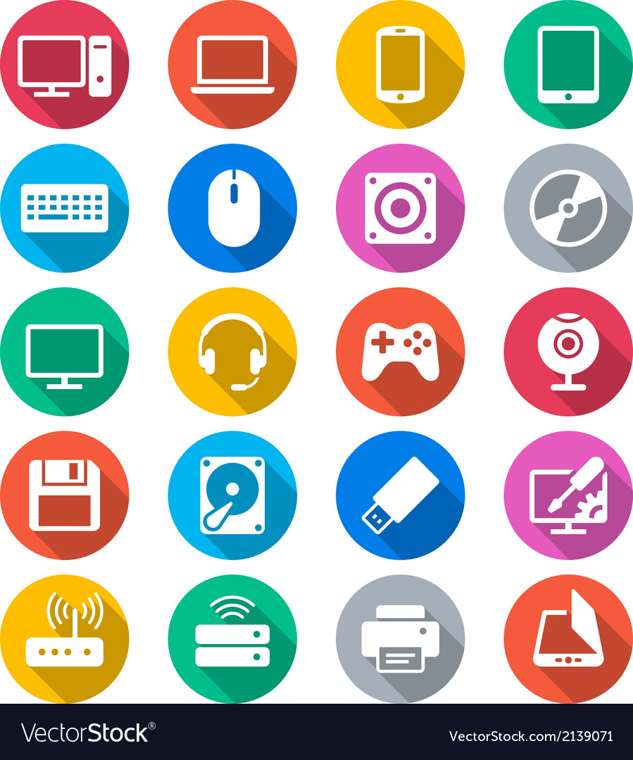 Computer flat color icons