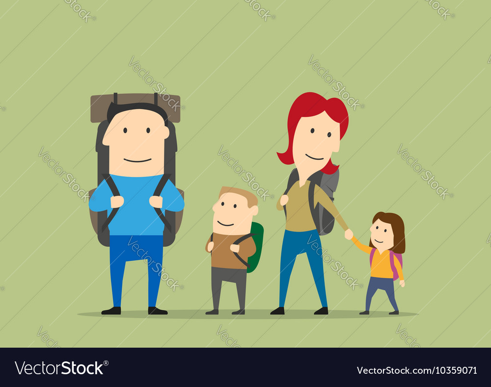 Family with backpacks Parents and kids hiking