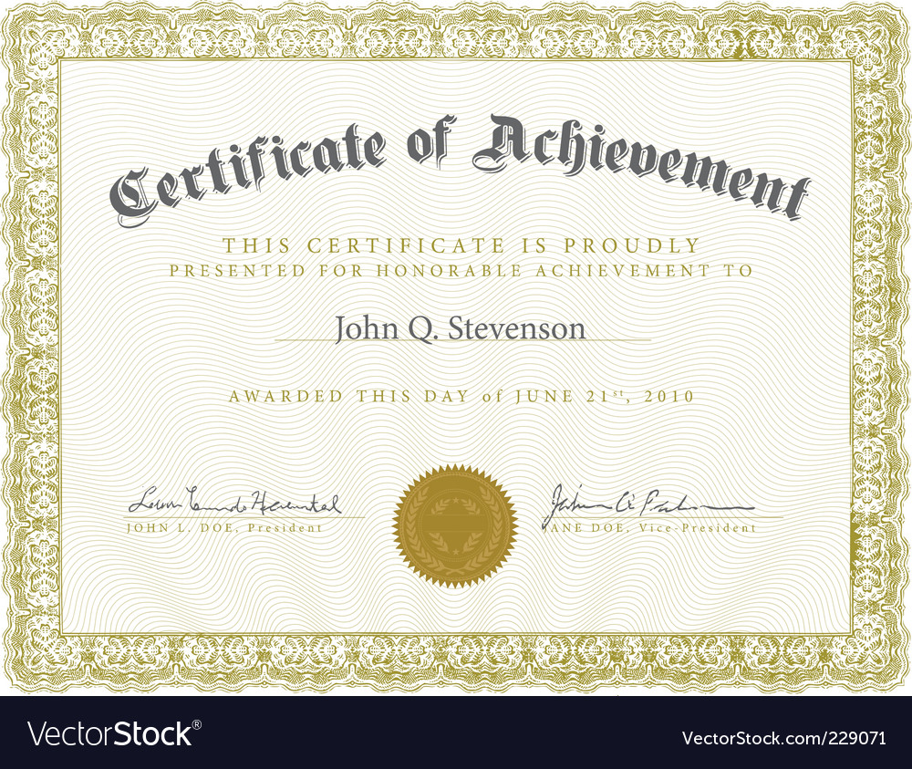 Formal Ornate Certificate Template Royalty Free Vector Image