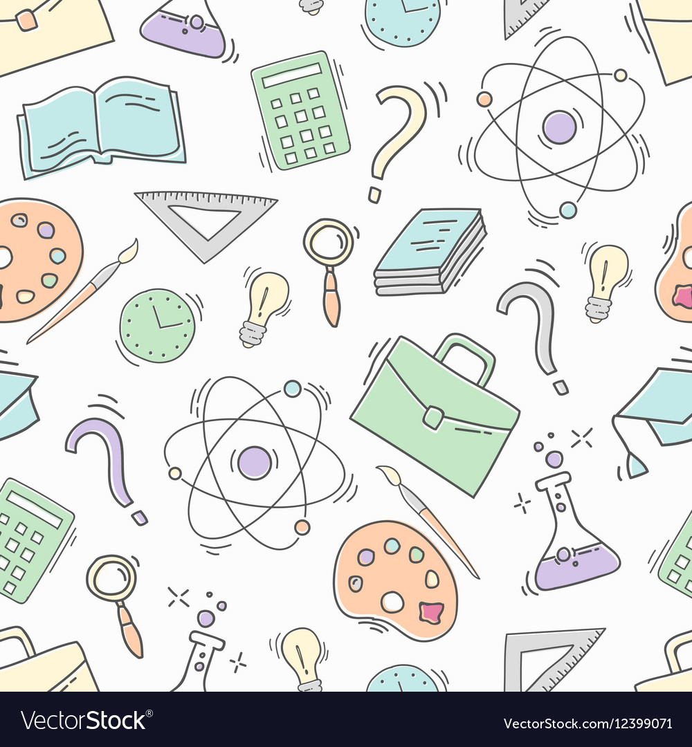 Hand Drawn Study seamless pattern vector image