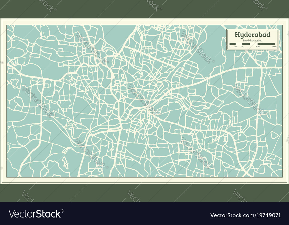 Hyderabad india city map in retro style outline vector image gumiabroncs Choice Image