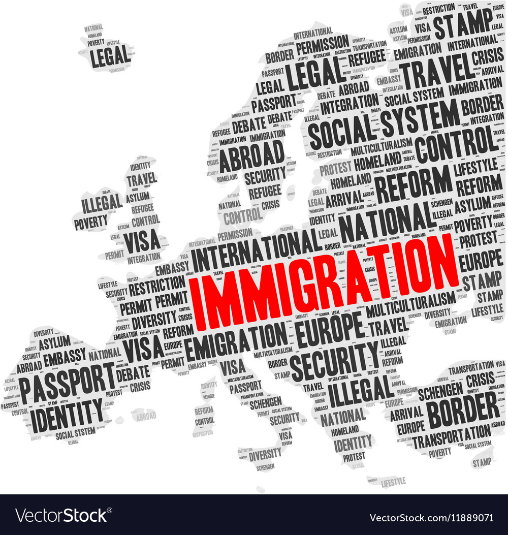 Immigration word cloud in a shape of Europe map vector image