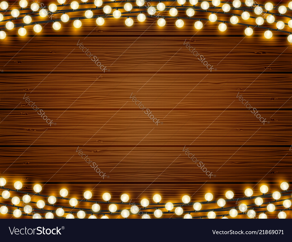 Lights on wood background