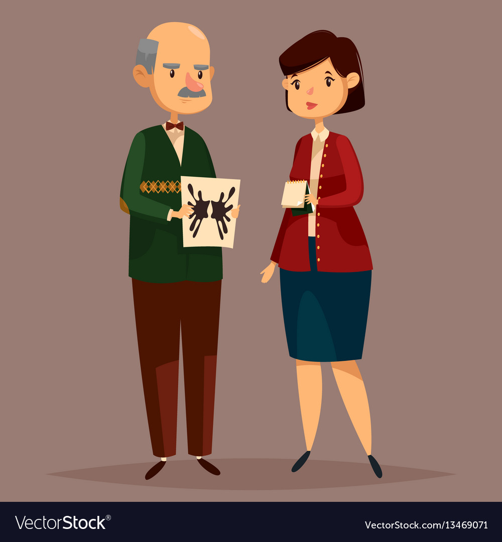 Man psychologist holding rorschach test and woman