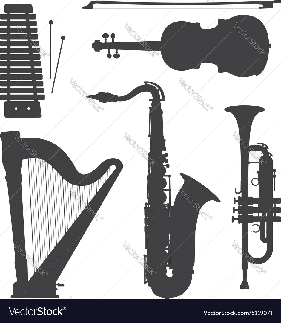 Monochrome music instruments silhouettes vector image