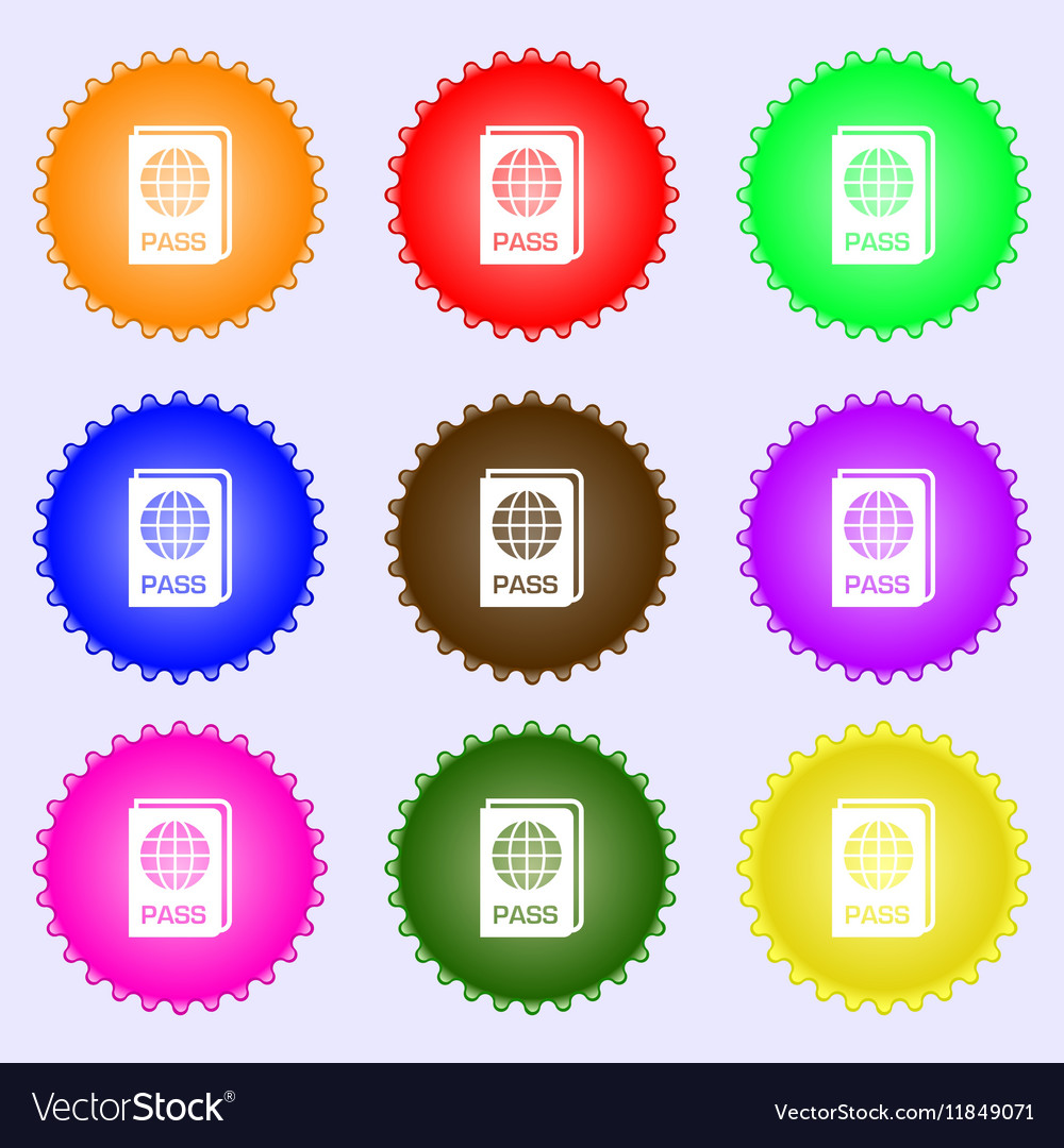 Passport icon sign Big set of colorful diverse vector image