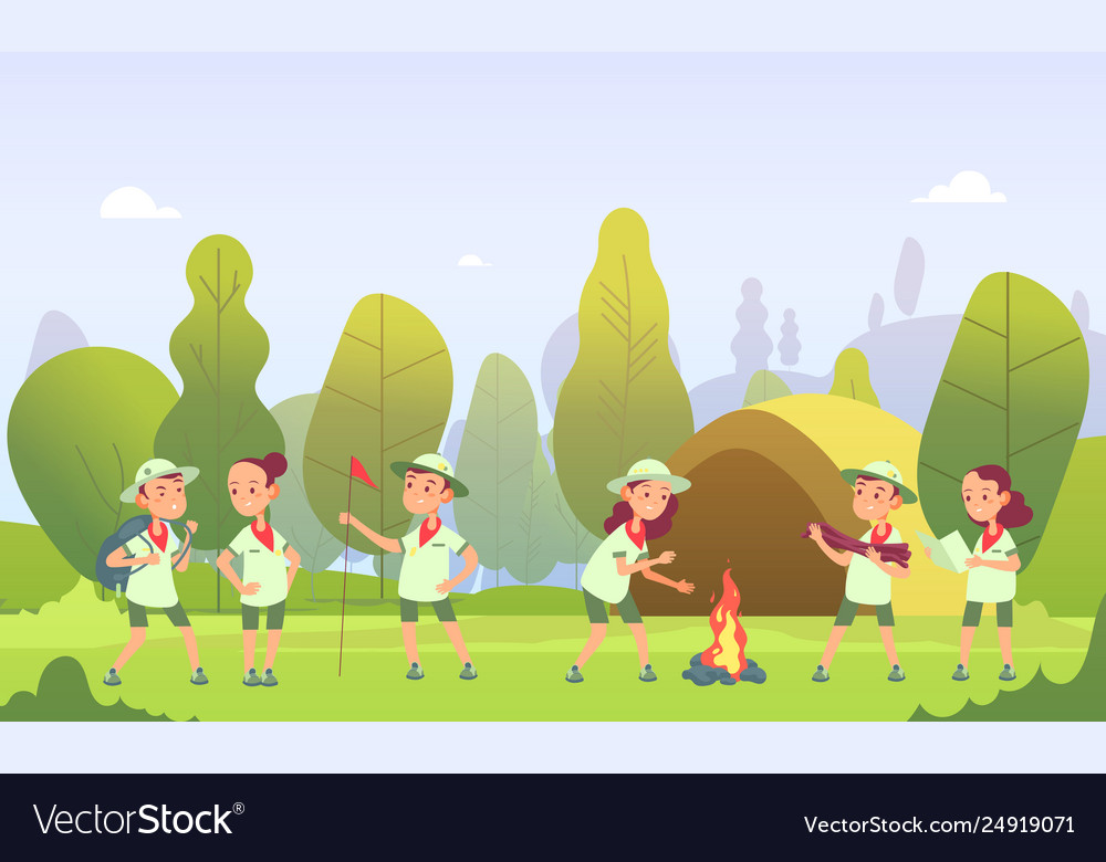 Scouts in camping cartoon kids at campfire in