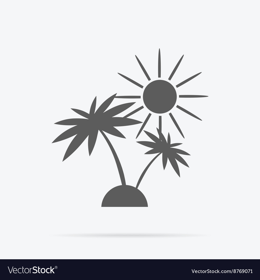 Silhouette of Palm Trees and Sun