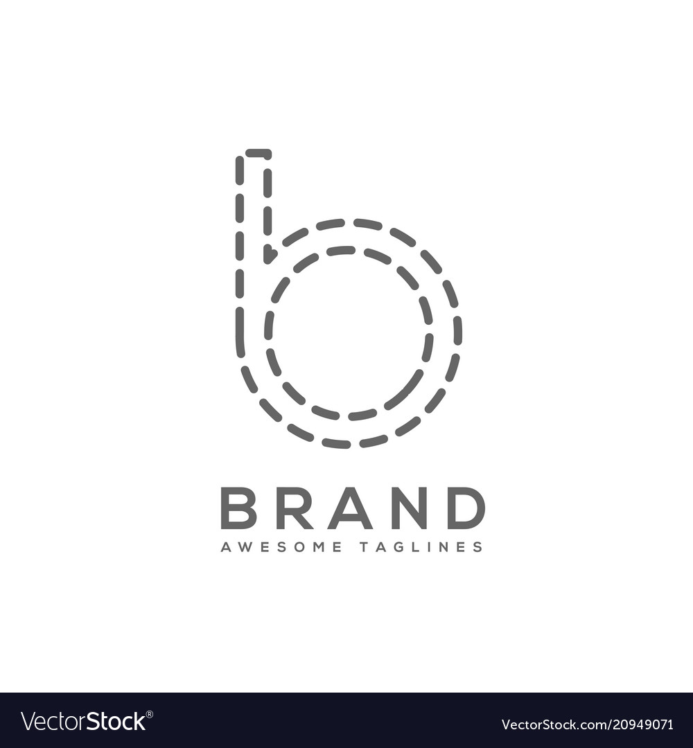 Simple letter b sign dash design template element
