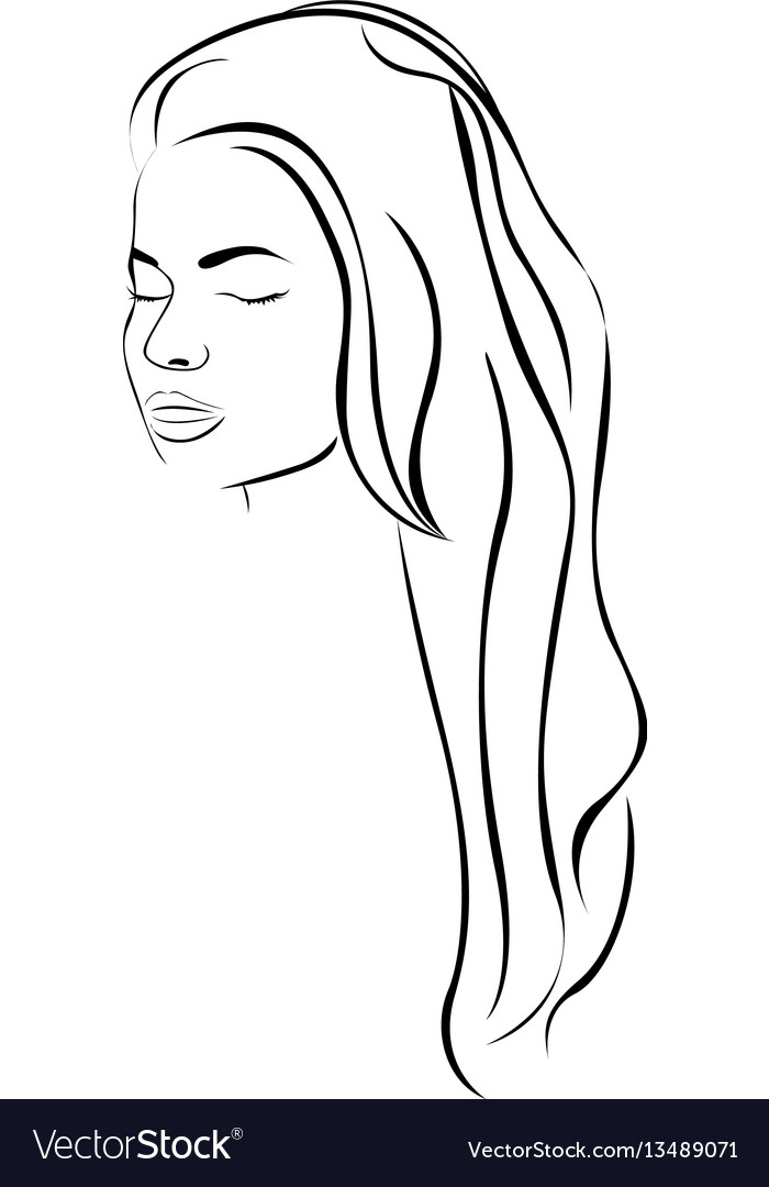 Sketch female face sensual silhouette with long