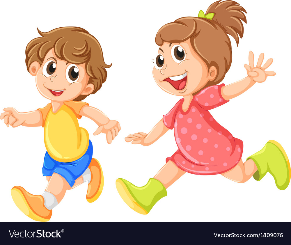 A small girl and a small boy playing vector image