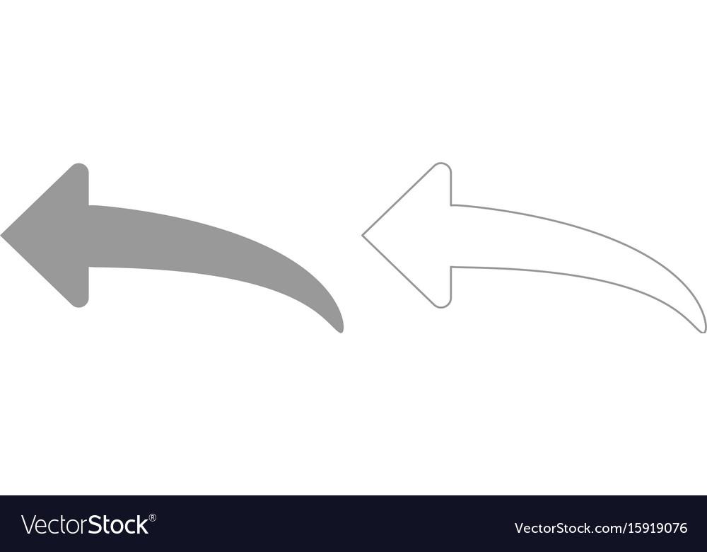 Arrow return or reply grey set icon vector image