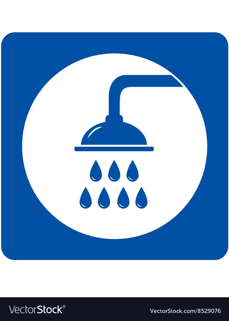 Blue shower head sign