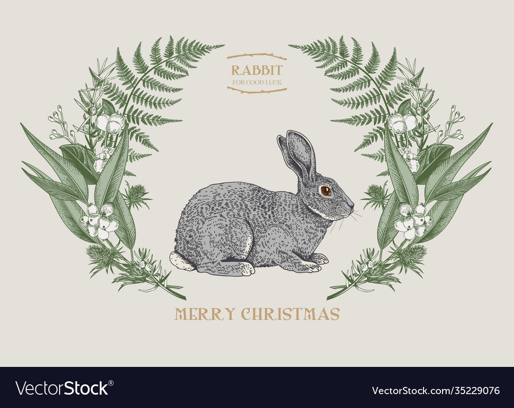 Card with leaves and rabbit