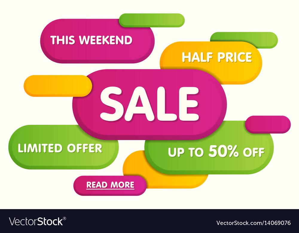 Colorful horizontal sale banner design vector image