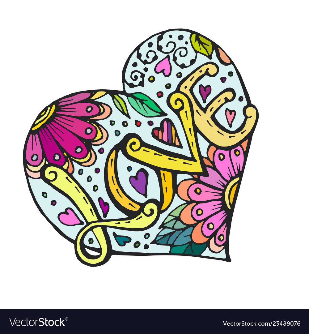 Doodle heart with flowers and love inscription