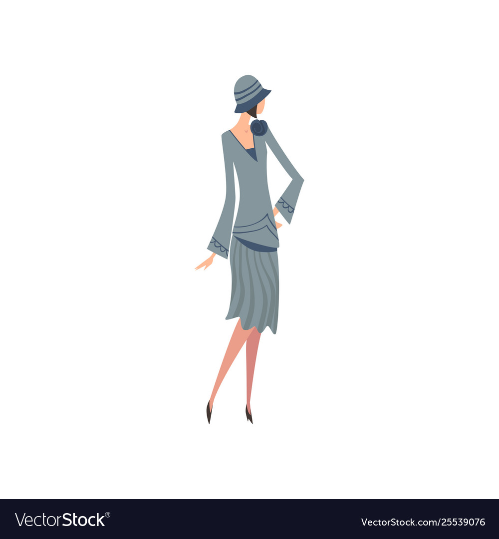 Elegant Woman In Blue Retro Dress And Hat