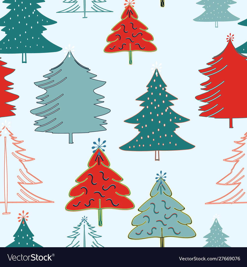 Light Blue With Red And Green Christmas Trees Vector Image