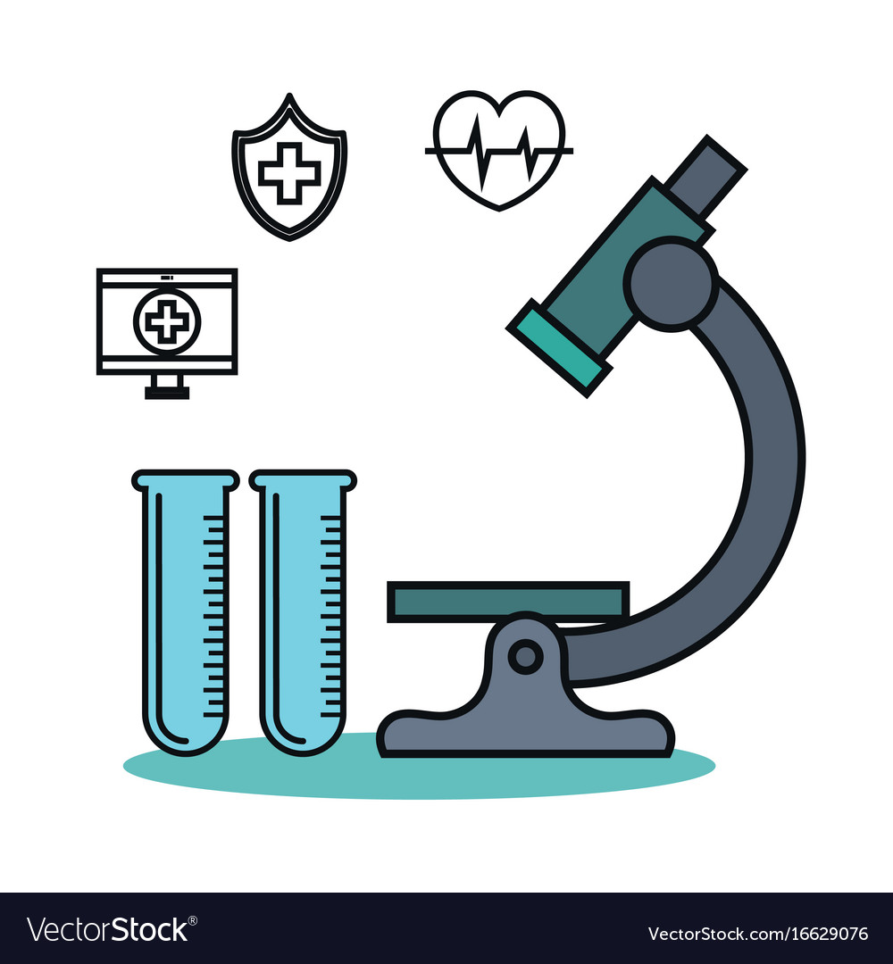 microscope and test tube flask medical technology vector image rh vectorstock com medical vector scabies medical vector term