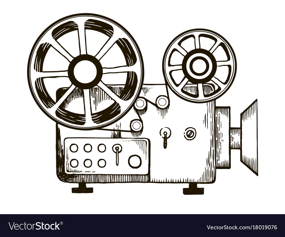 Old Film Projector Engraving Royalty Free Vector Image