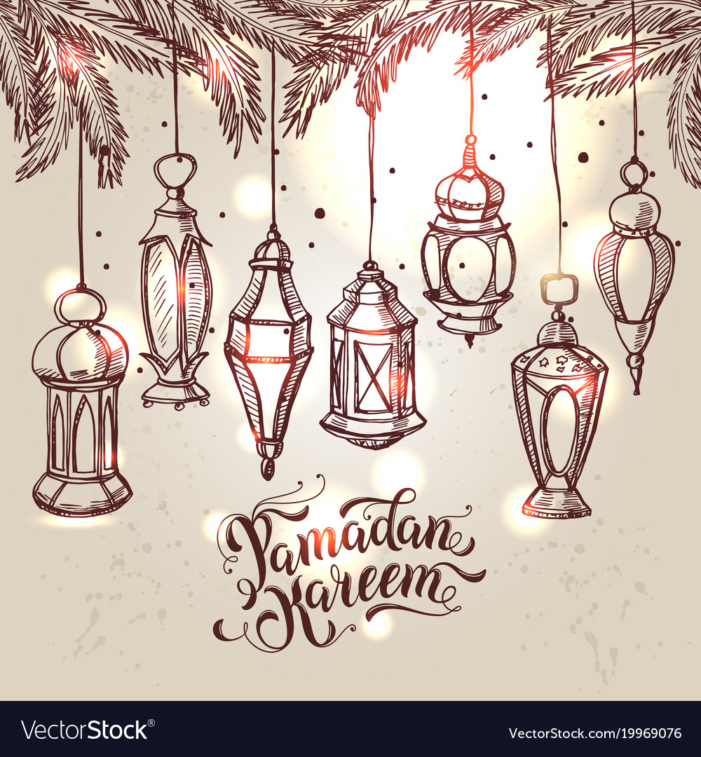 Ramadan kareem with lantern in hand