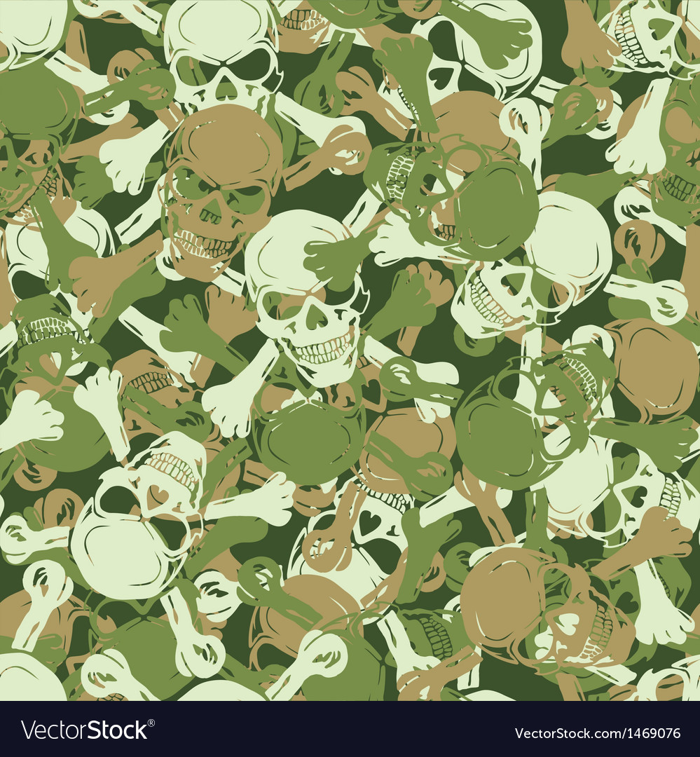 Seamless skull camouflage pattern vector image