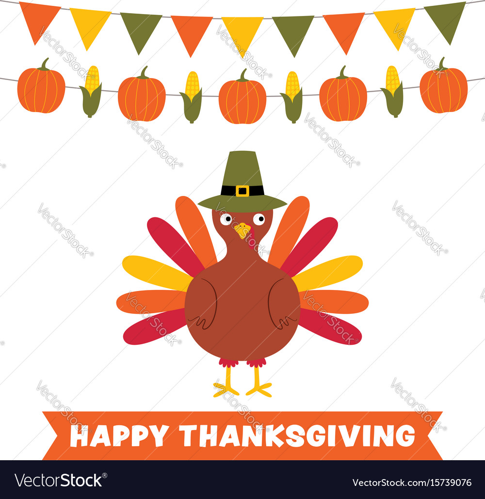 Thanksgiving card with a turkey and decoration