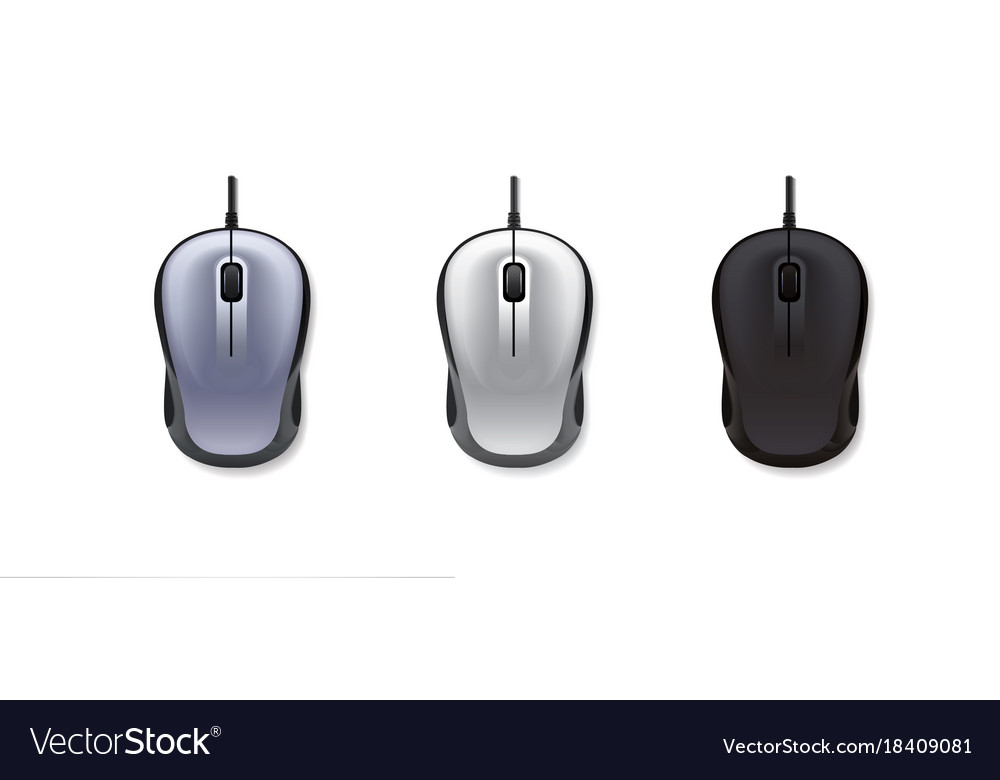 3 realistic computer mouse on white background
