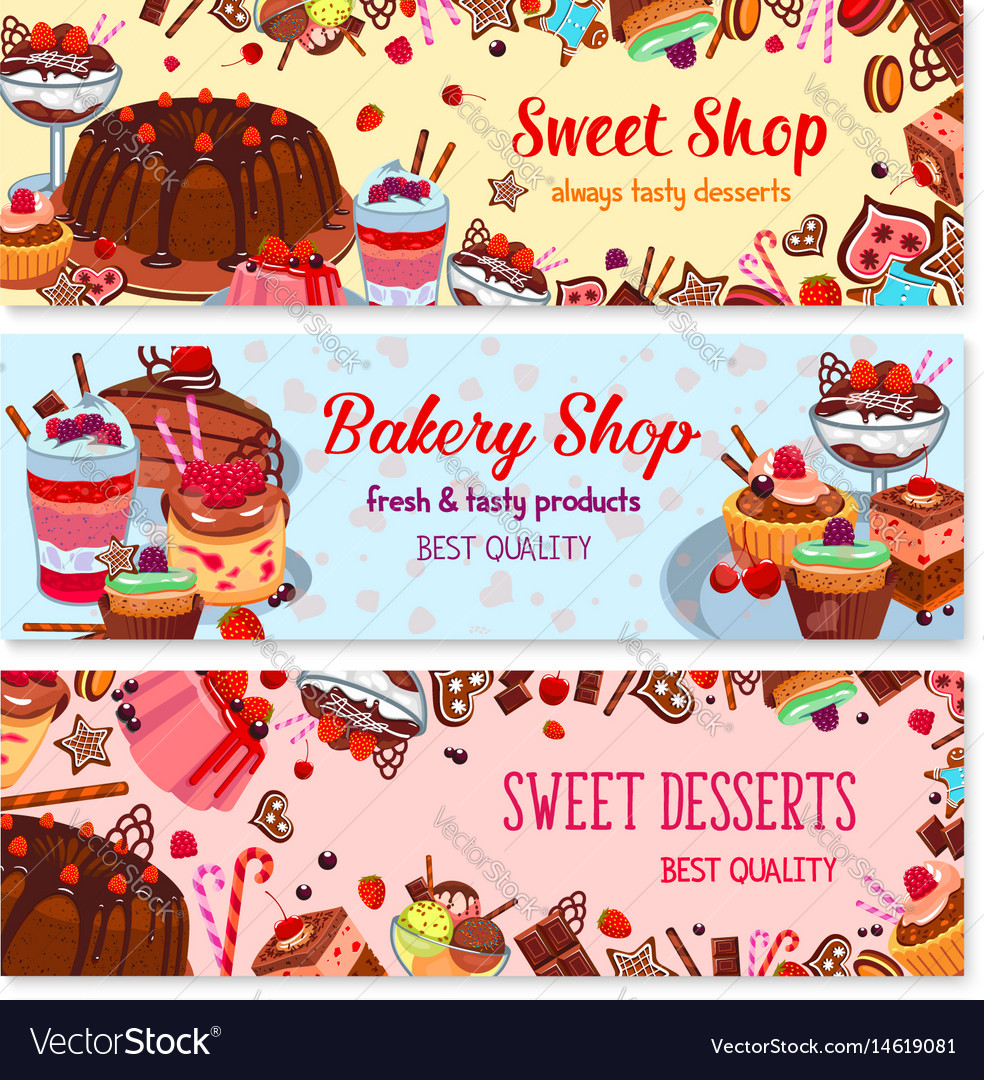 Bakery and sweet shop ice cream cafe banner set