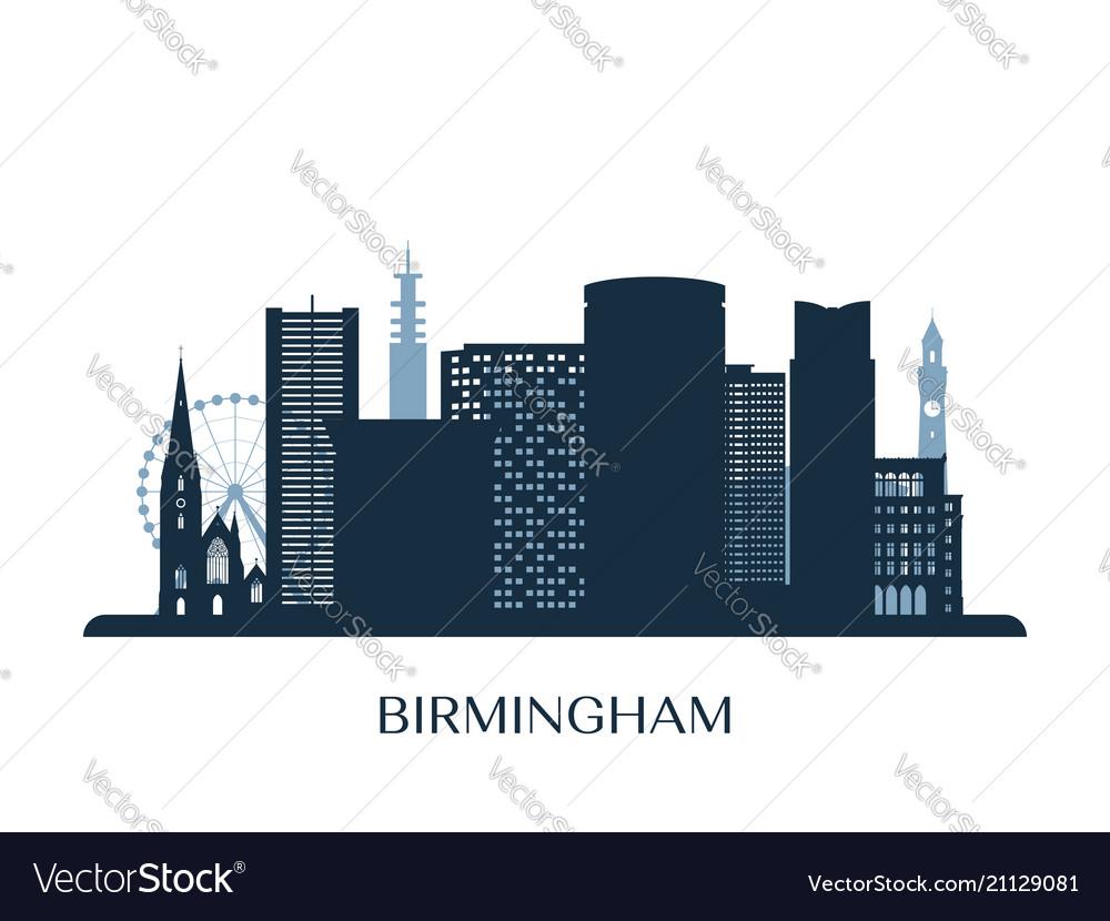 Birmingham skyline monochrome silhouette