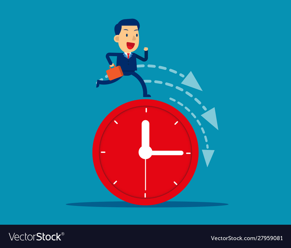 Businessman running on clock representing
