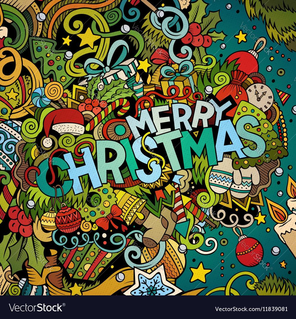 Cartoon cute doodles hand drawn Merry Christmas