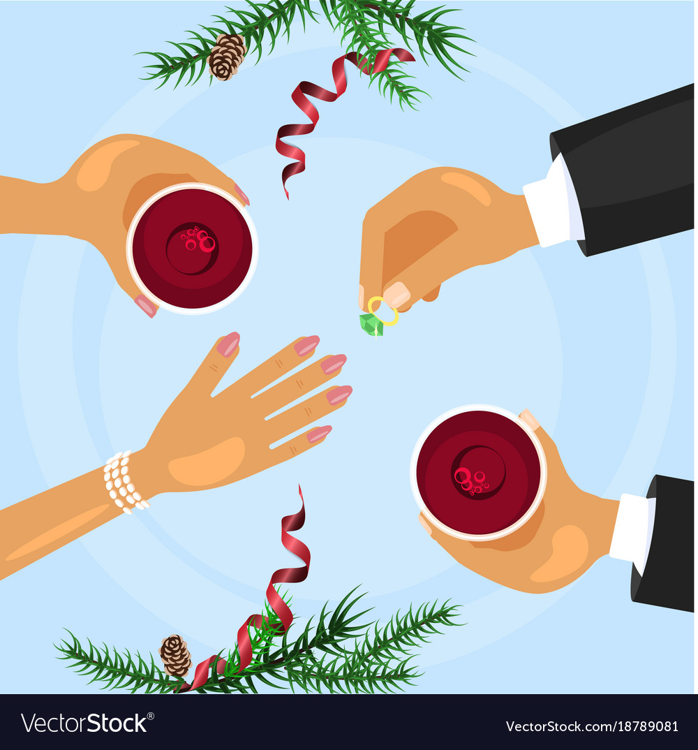 Christmas celebration and betrothal ring